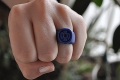 hand sculpted blue lantern ring